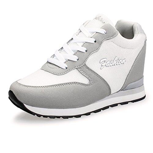 VECJUNIA Ladies Breathable Hidden Wedge Mesh Trainers Sneakers Shoes Gray