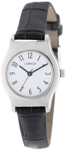 Carriage Women s C3C364 Silver-Tone Round Case White Dial Black Croco Leather Strap Watch