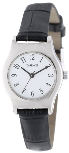 Carriage Women's C3C364 Silver-Tone Round Case White Dial Black Croco Leather Strap - Womens Timex Carriage