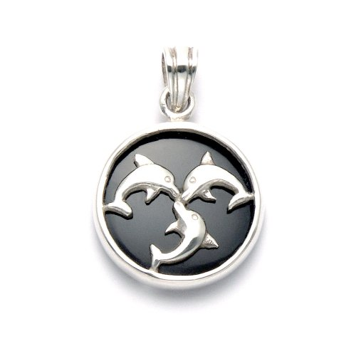 Wild Things Sterling Silver 3 Dolphins on Silver Framed Simulated Black Onyx Disc Pendant