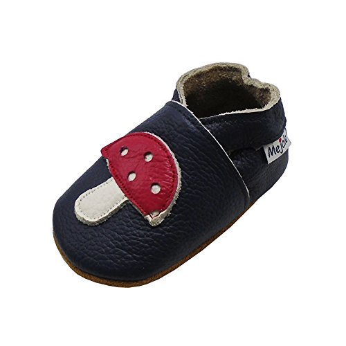 Mejale Baby Shoes Soft Sole Leather Crawling Moccasins Cartoon Mushroom Infant Toddler First Walker Slippers(12-18 Months, Navy Blue)