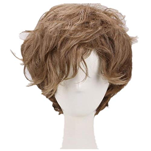 Mens Short Brown Curly Fluffy Wig Newt Halloween