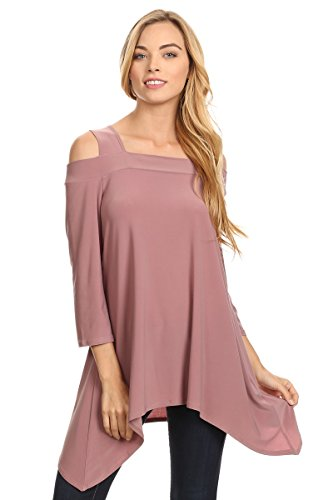 Bites Branch - THE BRANCH Women's Solid Long boidy top with Shoulder Cutout sCO-060 (XL, Mauve)
