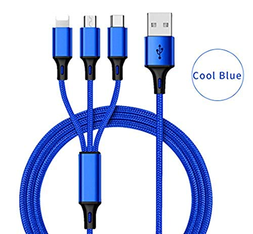 (DECVO Multi Charger Nylon Braided 3 in 1 (4.0ft) Multiple Charging Cable Cord Adapter with USB Type C/Micro USB Connector Ports Compatible with iPhone, iPad, Samsung Galaxy Android and More (Blue))