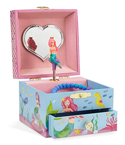 JewelKeeper Mermaid Girl's Musical Jewelry Box, Underwater Design Pullout Drawer, Over The Waves Tune -