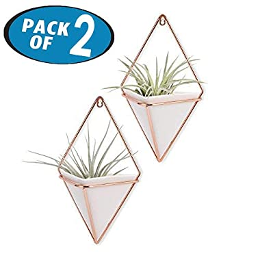 Originalidad Hanging Planter & Geometric Wall Planter Container for Succulent Plants, Air Plant, Mini Cactus, Faux Plants and More Home Décor, White and Rose Gold (Set of 2)