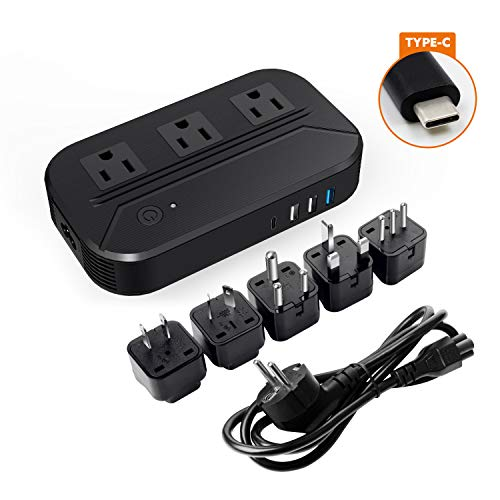- Voltage Converter 2300W Step Down 220V to 110V Universal Travel Adapter Power Converter Power Transformer with 4 Smart USB Charging Ports Inner Cooling Design - Black