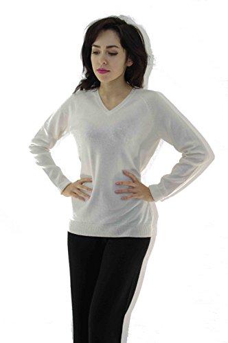 ZYPR 100% Mongolei cachemira mujer 02-64-sueter blanco