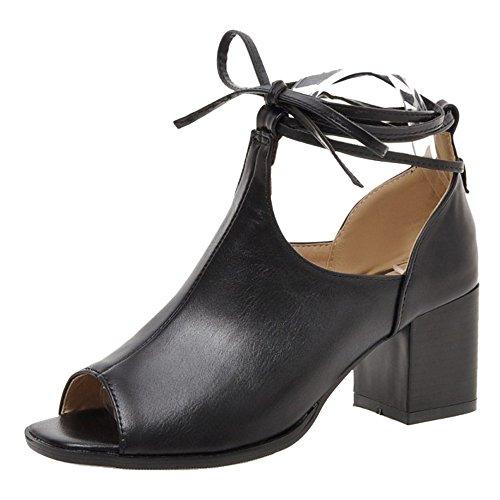 Femmes Sandales Ete Lacets Black Chaussures Bottes VulusValas UXBdwqc
