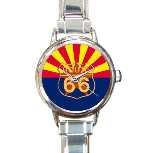 Birthday Gifts Arizona Flag Route 66 Steel Round Italian Watch