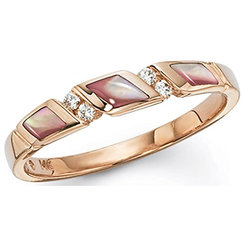 Kabana Rose Gold Pink Mother of Pearl and Diamond Ring for sale  Delivered anywhere in USA