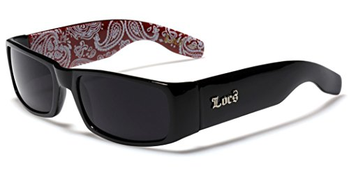 Locs Original Gangsta Shades Men's Hardcore Dark Lens Sunglasses with Bandana Print - Black & - Wholesale Sunglasses Biker