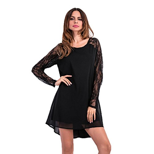 Culater Mujer Camisetas Lace Casual Slim Blusa Tops Negro