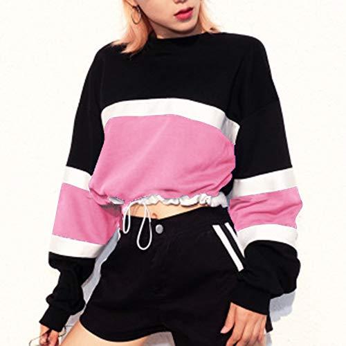 Sleeve Pullover Fit Striped Long Sweatshirt Slim Tricolor Pink RedBrowm Fashion Women HTqEgzn7