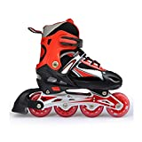 YANGXIAOYU Adult Beginners Children's Inline Skates, Professional Roller Shoes, Anti-Collision Shock All Flash Wheel, Backpack + Helmet + Protective Gear, Black Red Pink Blue