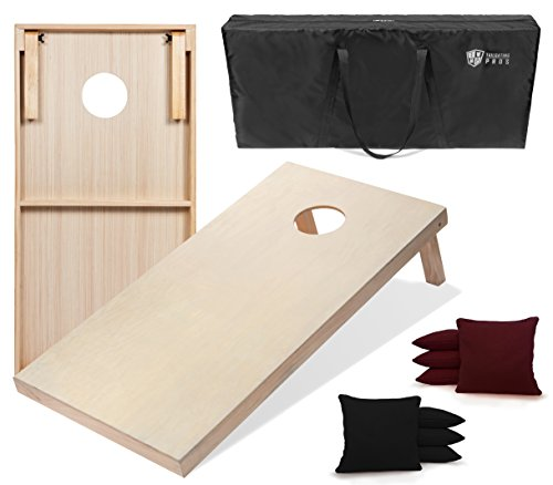 Tailgating Pros 4'x2' & 3'x2' Cornhole Boards w/Carrying Case & Set of 8 Cornhole Bags (You Pick Color) 25 Bag Colors! (Black/Maroon, 4'x2' Boards)