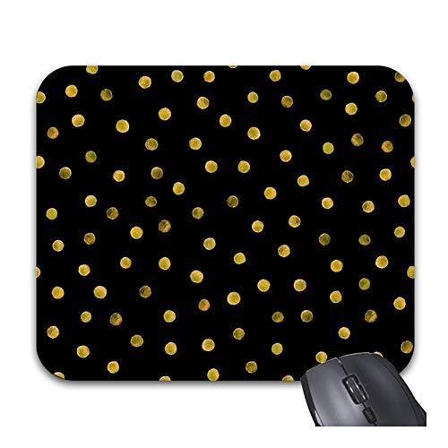 Julyou Mousepads Elegant Black and Gold Foil Confetti Dots Mouse Mat