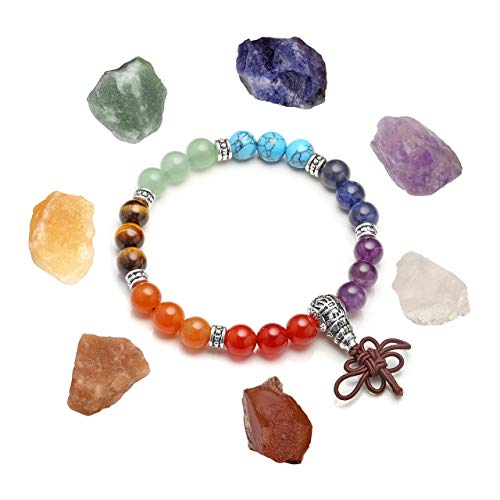 - MANIFO Reiki Healing Crystal Chakra Bead Bracelet 7 Chakra Rough Raw Gemstone Set Balance Meditation