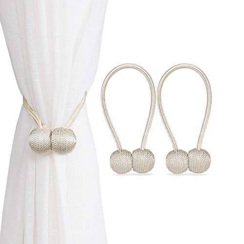 HAPPYRIVER HOME Magnetic Curtain Tiebacks, 2 Packs Drape Holders Holdbacks Decorative Weave Rope Clips Tie Backs for Window Sheer Decoration (Beige)