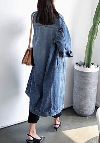 Cappotti Di Blu Donna Primavera Autunno Lungo Giacca Manica Jeans Coat Onlyoustyle Cime Lunga Tops Casual Giacche E Moda Denim Jacket Outerwear vqwndttR