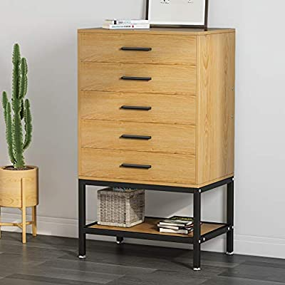 5-Drawer Dresser, LITTLE TREE Tall Accent Chests of Drawers with Open Storage, Works as File Cabinet & Collection Suitable for Bedroom or Office, Oak - 5-Drawer Dresser Tall chest features five spacious drawers to organize clothes, bedding, towels or stand in office to store files. Metal slides for smooth gliding, the rustic metal handles in a brushed nickel finish for a great touch. Designed with a classic shape in oak, this chest of drawers will complement an array of styles - dressers-bedroom-furniture, bedroom-furniture, bedroom - 41Wmpeg4GXL. SS400  -