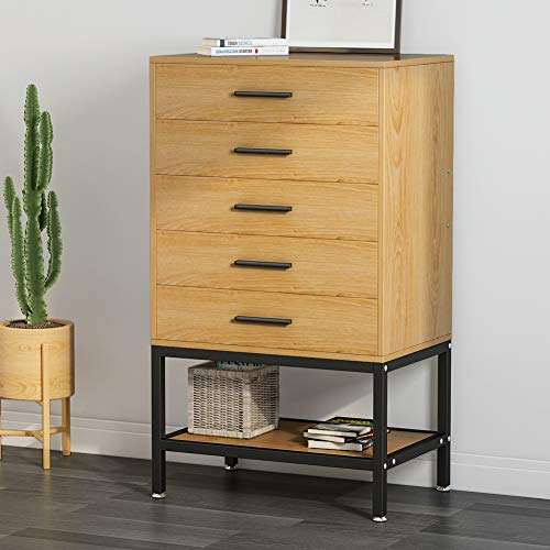 - 5-Drawer Dresser, LITTLE TREE Tall Accent Chests of Drawers with Open Storage, Works as File Cabinet & Collection for Bedroom or Office, Oak