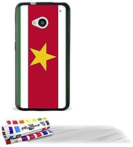 """Carcasa Flexible Ultra-Slim HTC ONE / M7 de exclusivo motivo [Bandera Suriname] [Negra] de MUZZANO  + 3 Pelliculas de Pantalla """"UltraClear"""" + ESTILETE y PAÑO MUZZANO REGALADOS - La Protección Antigolpes ULTIMA, ELEGANTE Y DURADERA para su HTC ONE / M7"""