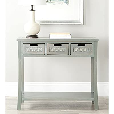 "Safavieh American Homes Collection Autumn French Grey 3-Drawer Console Table - The blue finish of this console table will create a perfect accent to your home This console table features 3 drawers measuring 9.1"" x 13"" x 4.7"" Crafted of solid elm wood - living-room-furniture, living-room, console-tables - 41WmpwAbwBL. SS400  -"