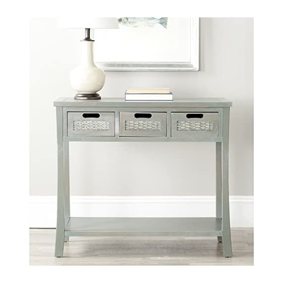 "Safavieh American Homes Collection Autumn French Grey 3-Drawer Console Table - The blue finish of this console table will create a perfect accent to your home This console table features 3 drawers measuring 9.1"" x 13"" x 4.7"" Crafted of solid elm wood - living-room-furniture, living-room, console-tables - 41WmpwAbwBL. SS570  -"