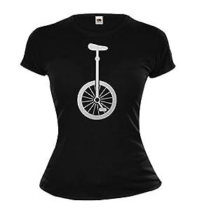 Girlie T-Shirt Einrad-Silhouette-M-Black-Silver