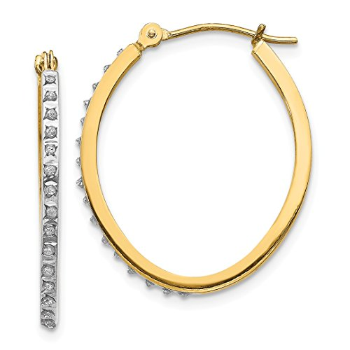 14k Yellow Gold Diamond Fascination Oval Hinged Hoop Earrings Ear Hoops Set Fine Jewelry Gifts For Women For Her
