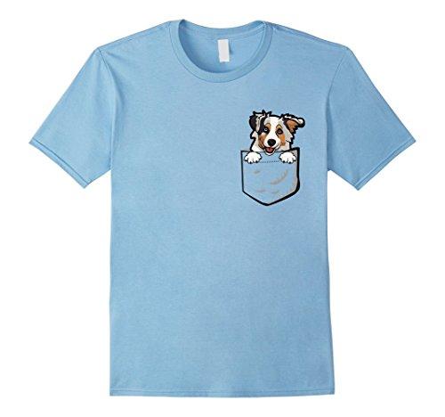 Mens Adorable Little Australian Shepherd In The Pocket T-shirt Medium Baby Blue