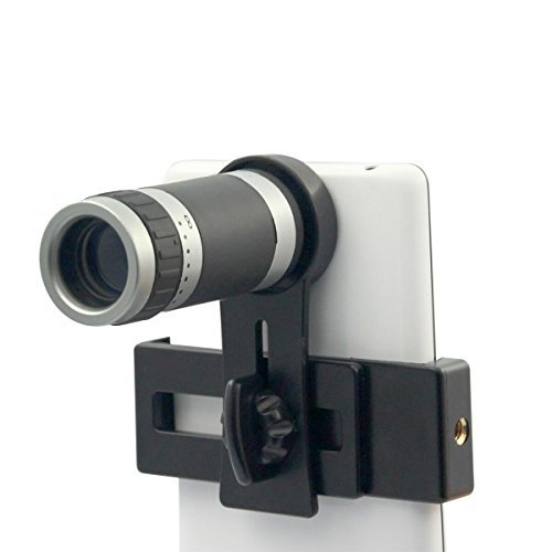 Universal 8×18 Optical Zoom Lens Micro Mobile Phone Lens Telescope Camera with Holder for iPhone Samsung HTC Android Smartphones (Black)