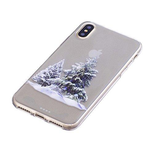 iPhone X Custodia , Moda Cedro Silicone leggero Morbido TPU Sollievo Sottile Protezione Antiurto Copertura Antiscivolo Resistente Coperture Cover Case Custodia per Apple iPhone X