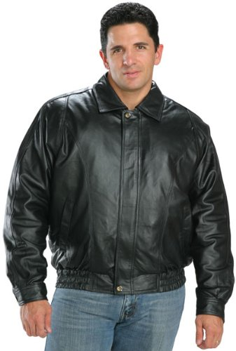 Amazon.com: USA Leather Classic Mens Leather Bomber Jacket - 2X ...