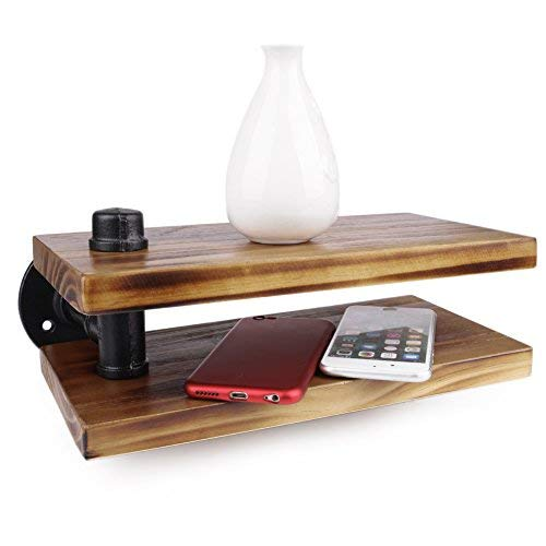 V-mix Wall Shelf, Wood and Iron Retro European Double Layer Practical Solid Book Shelf (Double Layer)