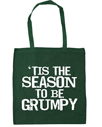 HippoWarehouse tis The Season to be grumpy Tote Compras Bolsa de playa 42cm x38cm, 10litros verde oscuro