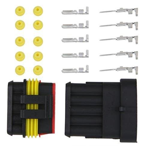 Lovelifeast 1Kit 5pin Way étanche Fil connecteur de câble prise mâle et femelle de électriques Auto Kits durable