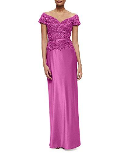 La Lang Abschlussballkleider Brautmutterkleider mia Pink Orange Satin Kurzarm Damen Promkleider Abendkleider Braut rxr6vqHnwA