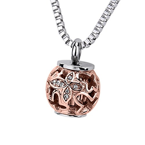 - Hollow Heart Rose Bead Cremation Ashes Urn Necklace Engraved Always in my heart Keepsake Memorial Pendant (Butterfly)
