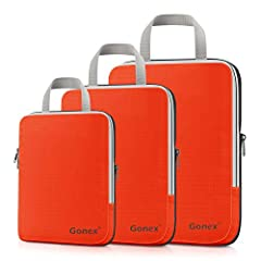 Gonex Extensible Packing Cubes 3 setsFriendly Notice:When using expanding zipper, the inner clothing may be clamped by zip. If so, please stop going, but pull the zip back slowly and push the clothing out at the same time. Soap-suds will be u...