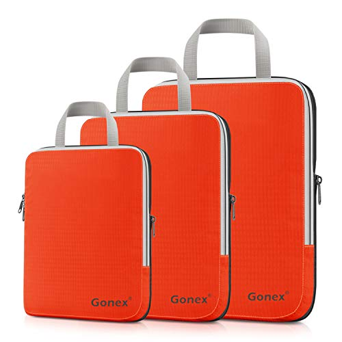 Compression Packing Cubes, Gonex Travel Organizers Upgraded 3PCS L+M+S(Orange)