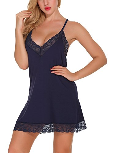 Fayejove Women's Lingerie Floral Lace Sleepwear Sexy V Neck Nightgown With G-String Blue L Floral Lace Nightgown