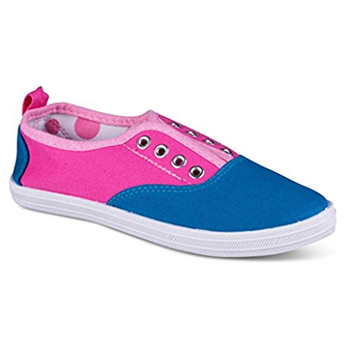 [G109-PINK/BLUE-T5] Girls Canvas Sneakers - Pink/Blue Slip On Casual Shoes, Eyelet Details, Toddler Size - Sports 90s