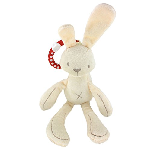 LHEI Hanging Baby Soft Snuggle Bunny Plush Rattle Toy, Play Activity Crib Stroller Musical Rabbit Stuffed Animal Baby Kids Gift Animals Doll (bunny) (Twin Stroller Wrap Around)