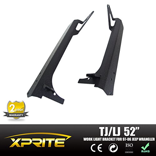 Xprite Jeep Wrangler TJ LJ 52-inch LED Light Bar with Upper Windshield Mounting Brackets and Lower Corner Brackets