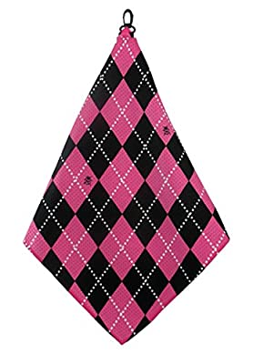 Hot Pink & Black Argyle Print Microfiber Golf Towel by BeeJos
