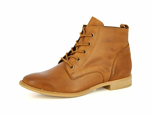 Alberto Torresi Leather Ankle Boots for Women Lace Up Casual Durbey Shoes Combat Boots Booties Tan,7 B(M) US ()
