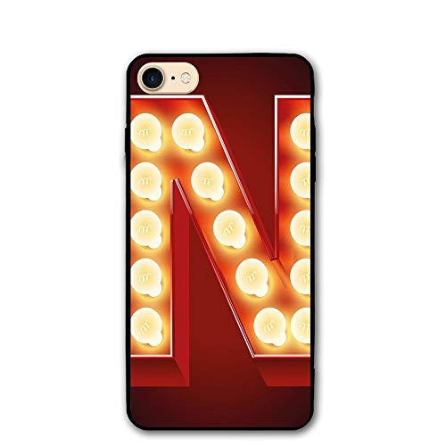 otective Case Cover 4.7 Inch Letter N Old Fashioned Movie Theater Carnival Casino Entertainment Night Life Decorative Vermilion Yellow Black ()
