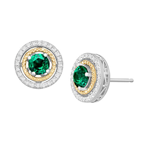 78-ct-Created-Emerald-18-ct-Diamond-Stud-Earrings-in-Sterling-Silver-and-14K-Gold